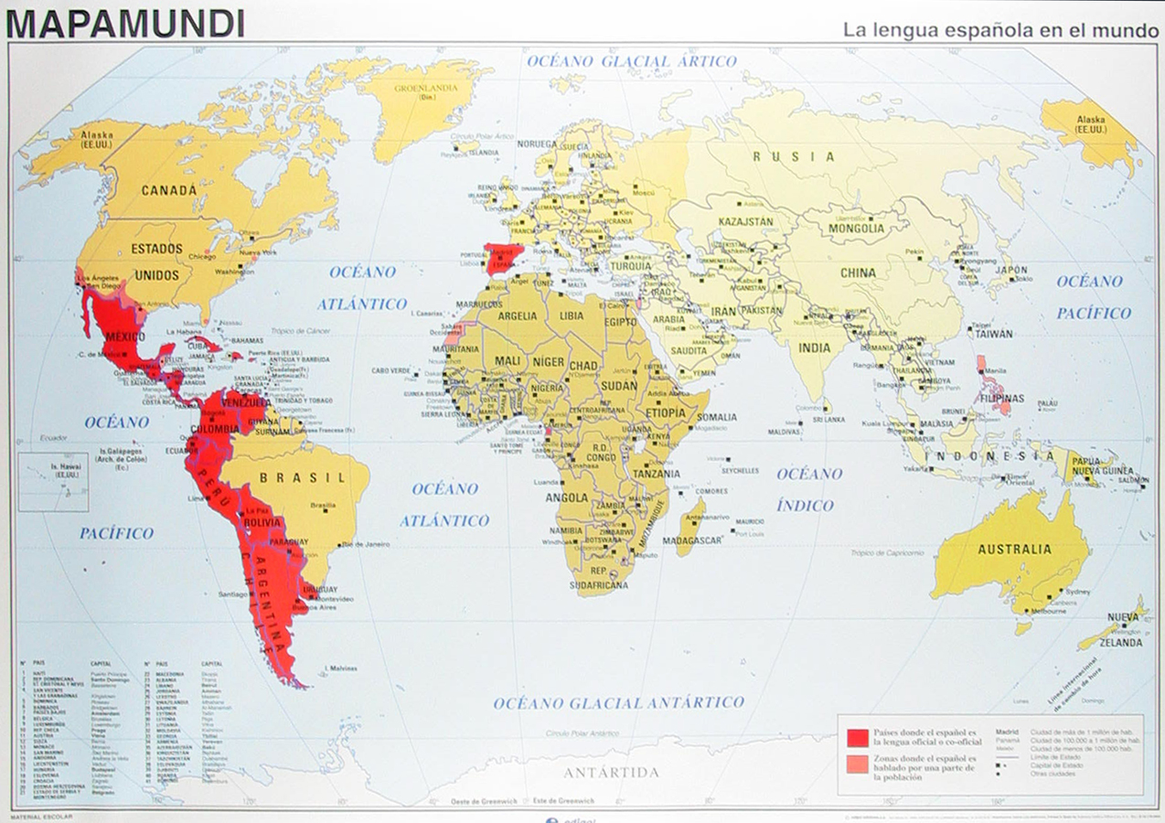 21 spanish speaking countries map with no names bar