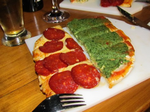 "Half pepperoni and half spinach pizza at ""La Bodeguita"""