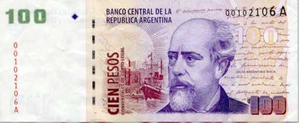 $100 argentine peso bill billete