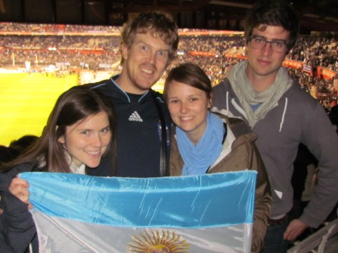 Friends at the Argentina vs. Ecuador soccer game