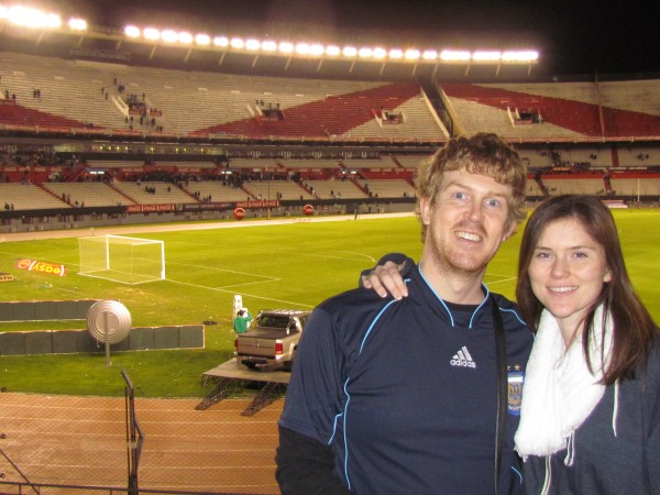 After the Argentina vs. Ecuador game at River Plate Stadium