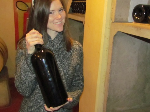 A big bottle of wine at Bouza Bodega, Uruguay